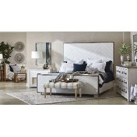Modern Farmhouse White King Size Bed - Modern Eclectic