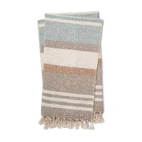Magnolia Home Furniture Hand Taupe and Multi Color Cotton Throw Blanket