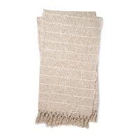 T1039 MH NATURAL IVORY Magnolia Home Furniture Natural and Ivory Striped Throw Blanket