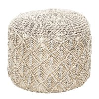 Natural Hand Woven Cotton Macrame Pouf