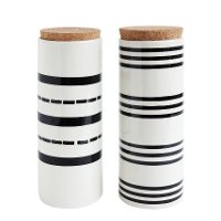 Assorted White and Black Stoneware Canister with Cork Lid