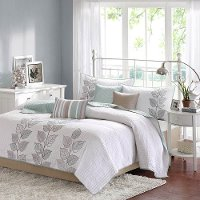 Blue and White 6 Piece Queen Caelie Bedding Collection