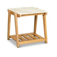 Honey End Table with White Marble Top - Celeste