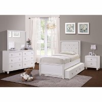 Traditional White 4 Piece Twin Bedroom Set - Bella