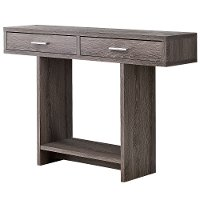 Modern Dark Taupe Accent Table with Drawers - Harrington
