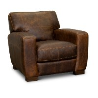 Contemporary Brown Leather Chair - Dakota