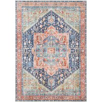AML2311-5373 5 x 7 Medium Traditional Teal and Blush Area Rug - Amelie
