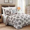 Black, Taupe and White Floral Queen 3 Piece Quilt Set - Lyla