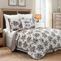 Black, Taupe and White Floral King 3 Piece Quilt Set - Lyla