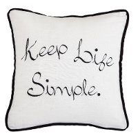 Black and White Keep Life Simple Embroidered Throw Pillow