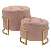 Round Blush Pink Upholstered Ottomans - Set of 2