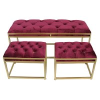 Upholstered Cranberry Benches - Set of 3