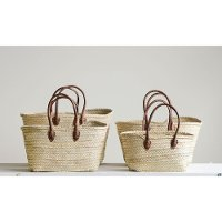 9 Inch Hand Woven Tan Moroccan Basket with Leather Handles