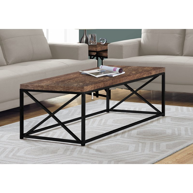 Brown Coffee Table With Black Base