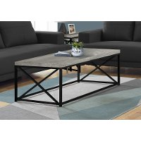 Gray Coffee Table with Black Metal Base - Lewiston