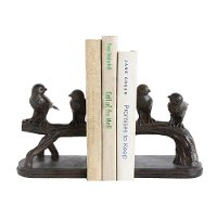 Rust Bird on Branch Bookend Pair