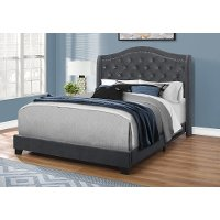 Dark Gray Velvet Queen Upholstered Bed - Harrison