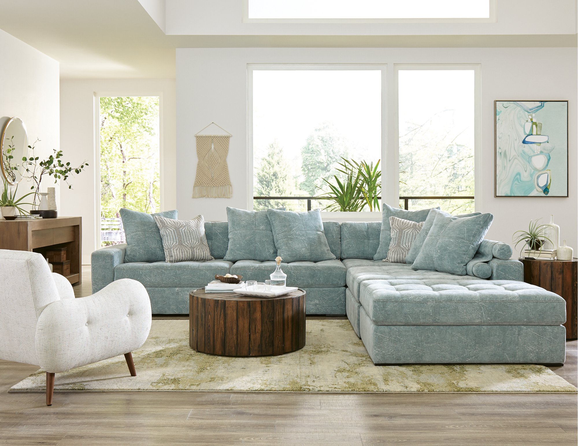 Modern French Blue 4 Piece Sectional Sofa Noah On R C Willey Ibt Shop