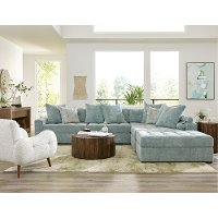 Modern French Blue 4 Piece Sectional Sofa - Noah