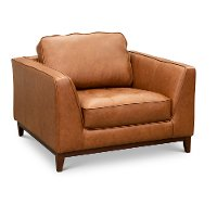 Modern Cognac Brown Leather Chair - Thompson