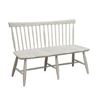 Farmhouse Whitewash Dining Room Bench - Modern Eclectic