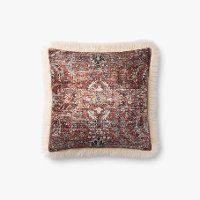 Multi Color and Ivory Square Throw Pillow