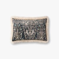 Ivory and Multi Color Rectangle Throw Pillow