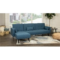 Madrid Ocean Blue Convertible Sectional Sofa Bed with Chaise - Jenna