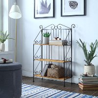 Wicker and Metal 3 Tier Bookcase