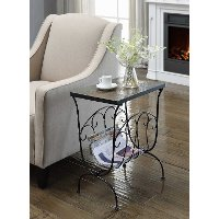 Black Metal Slate Magazine End Table - Stone