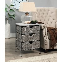 Gray Wicker and Black Metal 3 Drawer Chest - Autumn