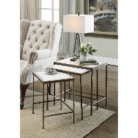 Rustic Bronze 3 Piece Nesting Tables - Travertine
