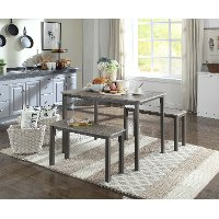 Brown and Gray 3 Piece Dining Set - Boltzero