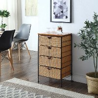 Honey Wicker and Black Metal Four Drawer Unit - Corona