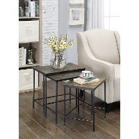 Black Metal and Stone Slate 3 Piece Nesting Tables