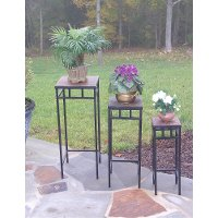 Black Metal and Slate Square Plant Stands (Set of 3) - Stone