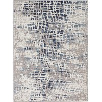 8 x 10 Large Ivory and Blue Area Rug - Urban Decor