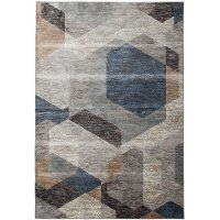 8 x 11 Large Gray, Blue, and Beige Area Rug - Sonoma