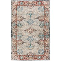 5 x 7 Medium Bombay Teal and Red Area Rug - Mercier