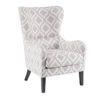 Modern Gray and White Swoop Wing Accent Chair - Arianna