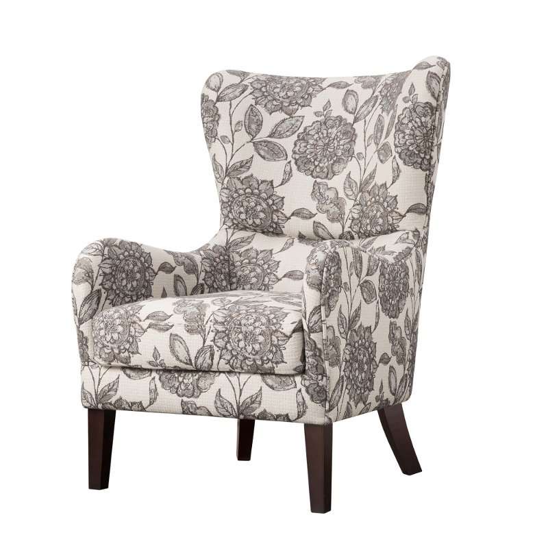 Gray Patterned Swoop Wing Accent Chair