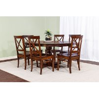 Cherry 5 Piece Dining Room Set with X Back Chairs - Abbey