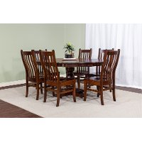Cherry 5 Piece Dining Room Set with Slat Back Chairs - Abbey