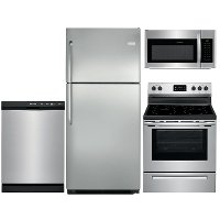 KIT Frigidaire 4 Piece Electric Kitchen Appliance Package with 20.4 cu. ft. Top Freezer - Stainless Steel