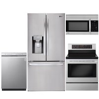 KIT LG 4 Piece Electric Kitchen Appliance Package with Smart Refrigerator - Stainless Steel