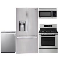 KIT LG 4 Piece Gas Kitchen Appliance Package with Smart Refrigerator - Stainless Steel