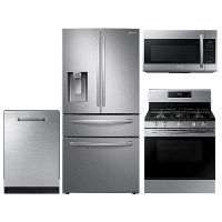 KIT Samsung 4 Piece Gas Kitchen Appliance Package with 28 cu. ft. French Door Refrigerator - Stainless Steel