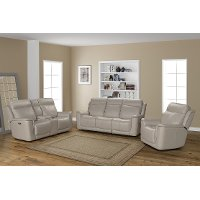 Cream Leather Triple Power Reclining Sofa - Burbank