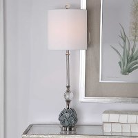 Blue and Gray Table Lamp with Calla Lilies - Elody