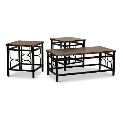 Contemporary Black Metal 3 Pack Coffee Table Set with Cherry Tops - Benjamin